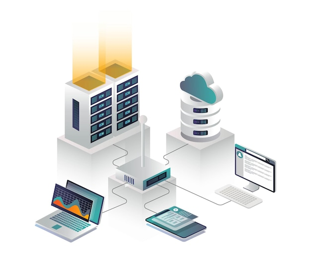 Flat isometric vector illustration cloud connection to a router and cloud server