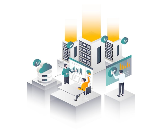 Flat isometric vector illustration it compliance server and cloud