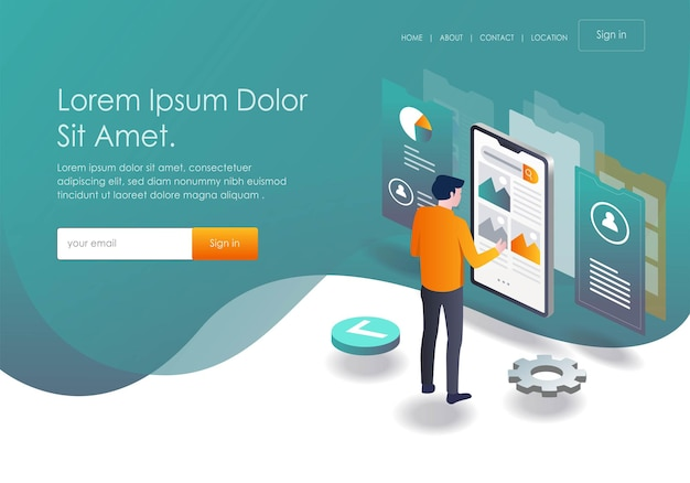 Flat isometric vector illustration  responsive and mobile testing