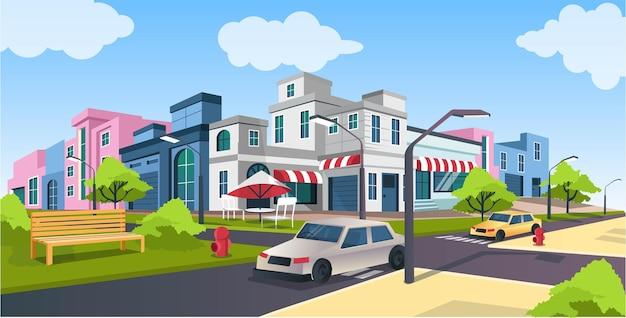 Плоские изометрические векторные иллюстрации, дорога и автомобиль, городская улица с пейзажем скамейки в парке