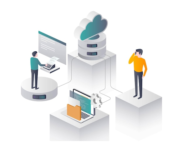 Flat isometric vector illustration, staff it security, cloud voip and efax