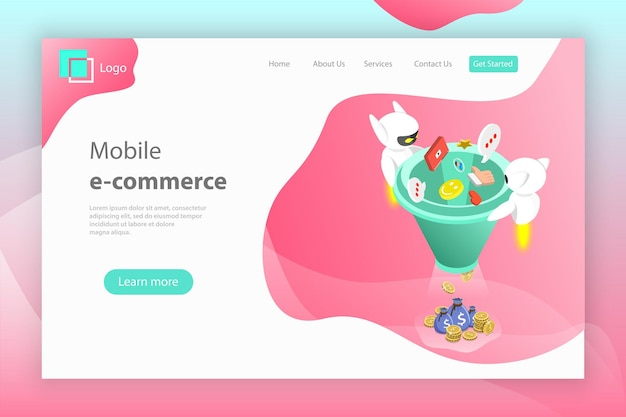 Flat isometric vector landing page header of chatbot sales funnel