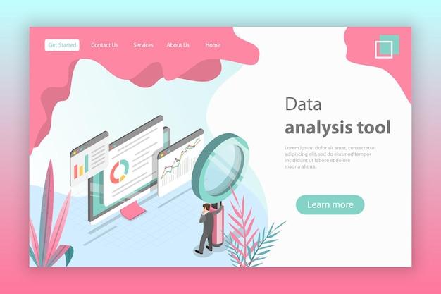 ウェブサイトのデータ分析のためのフラットアイソメトリックベクトルランディングページヘッダー