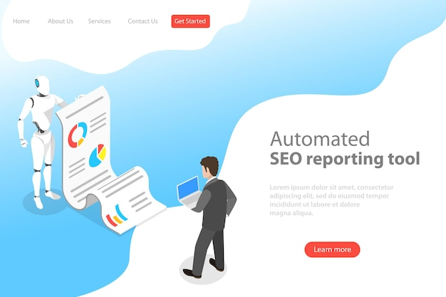 Flat isometric vector landing page template of automated seo report