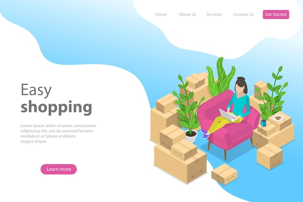 Flat isometric vector landing page template for easy shopping