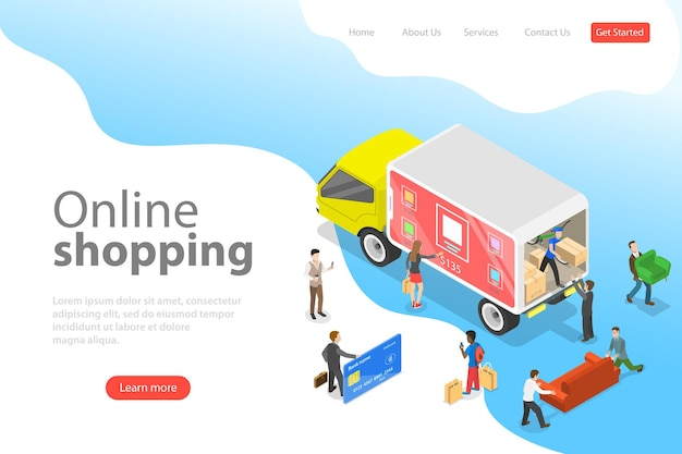 Flat isometric vector landing page template of easy shopping