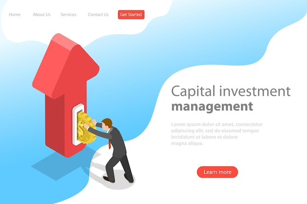 Flat isometric vector landing page template of financial investment