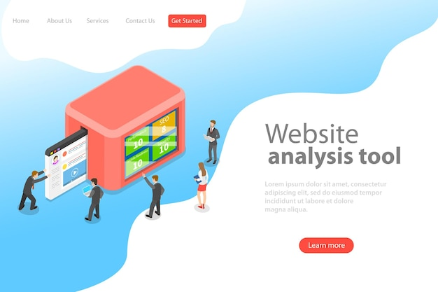 Flat isometric vector landing page template of website data analysis