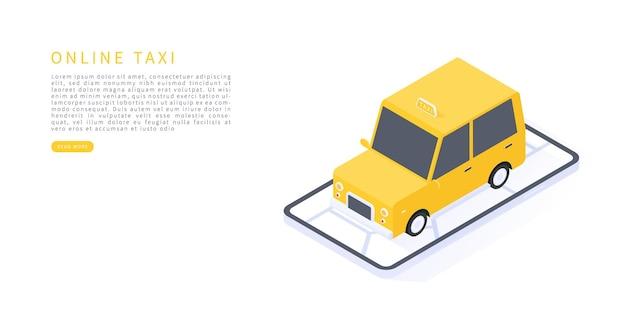 Плоский изометрический вектор с картой автомобилей такси и смартфоном