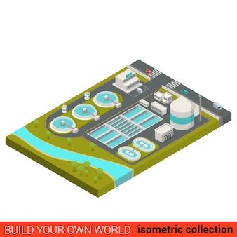 フラットアイソメトリック廃水処理プラントビルディングブロックインフォグラフィックコンセプト都市産業廃水下水サンプシンカー独自のインフォグラフィックワールドコレクションを構築する