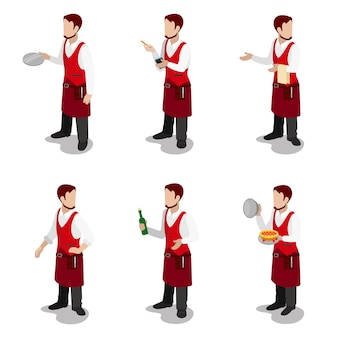 Flat isometric young stylish male cook waiter sommelier