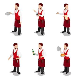 Piatto isometrico giovane elegante maschio cuoco cameriere sommelier