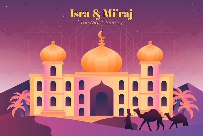 Flat isra miraj illustration