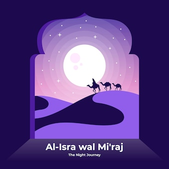 Flat isra miraj illustration