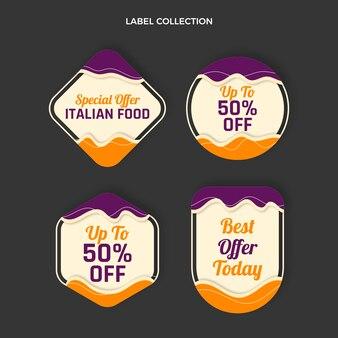 Коллекция плоских итальянских пищевых этикеток