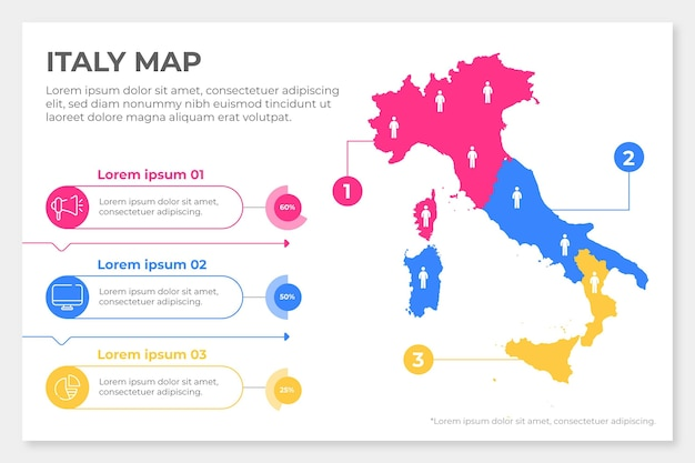 Piatto italia mappa infografica