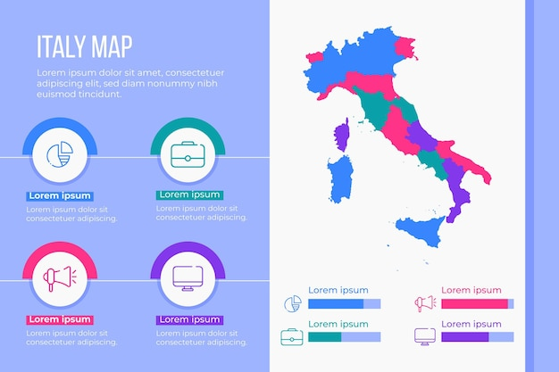 Flat italy map infographic