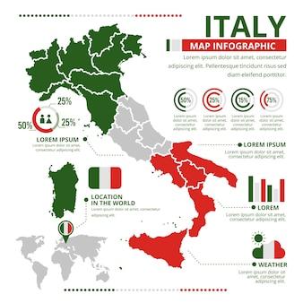 フラットイタリア地図インフォグラフィック