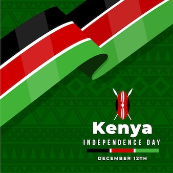 Flat jamhuri day with flag Free Vector