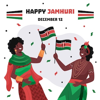 Flat jamhuri day with people