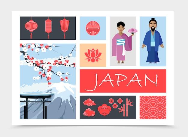 Плоская композиция элементов японии