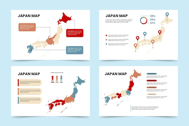 フラット日本地図インフォグラフィック