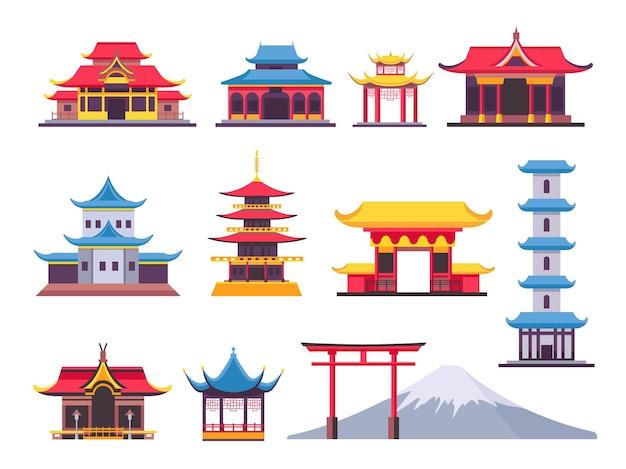 평평한 일본 건물, 고대 탑 및 문화적 랜드마크. 아시아산 후지산. 중국 탑, 사원 및 전통 가옥 벡터 세트