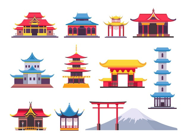 Flat japanese buildings, ancient pagoda and cultural landmark. asian mountain fuji. chinese towers, temples and traditional house vector set