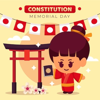 Flat japanese constitution memorial day illustration Free Vector