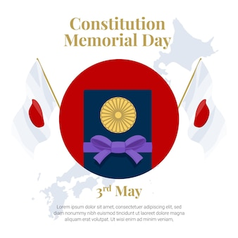 Flat japanese constitution memorial day illustration
