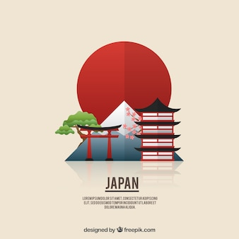 Flat japanese landscape background
