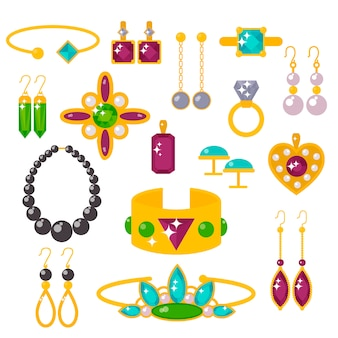 Flat jewelry stones vector illustration