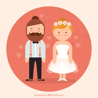 Flat jewish wedding couple