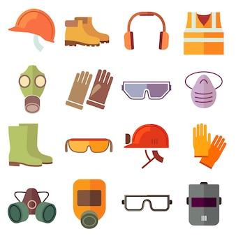 Установленные плоские значки вектора оборудования безопасности работы. значок безопасности, шлемное оборудование, промышленная работа, защитный головной убор и иллюстрация защитной обуви