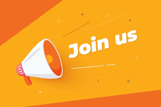 Flat join us concept promo