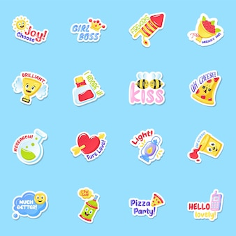 Flat joy and fun sticker set