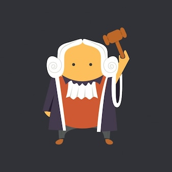 Flat judge with hammer