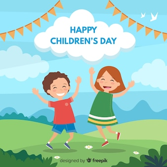 Flat jumping friends childrens day background