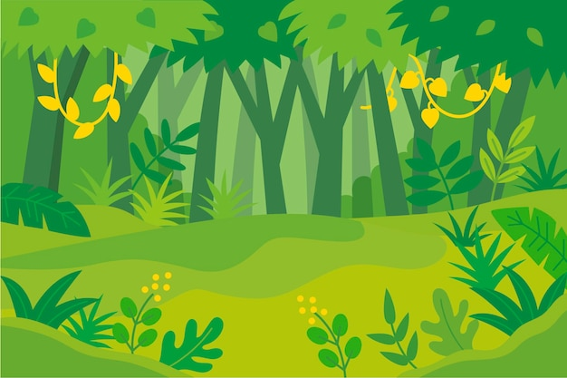 Flat jungle background with lianas