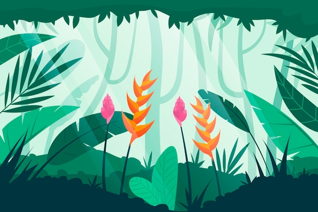 평평한 정글 배경