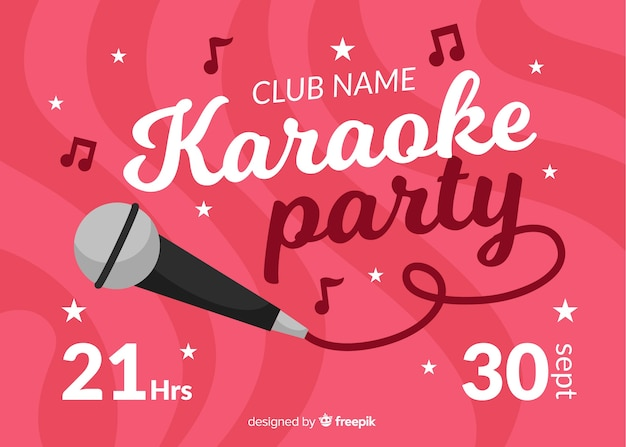 Flat karaoke night banner template