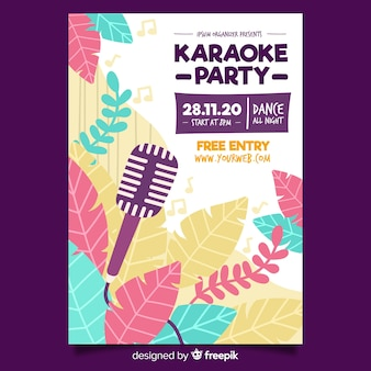 Flat karaoke night poster template