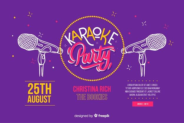 Flat karaoke party banner template