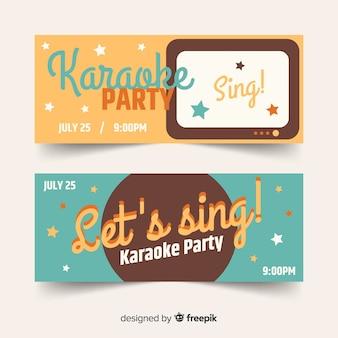 Flat karaoke party banners template