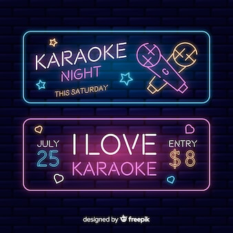 Flat karaoke party banners template