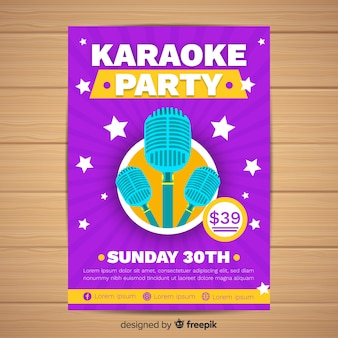 Flat karaoke party poster template