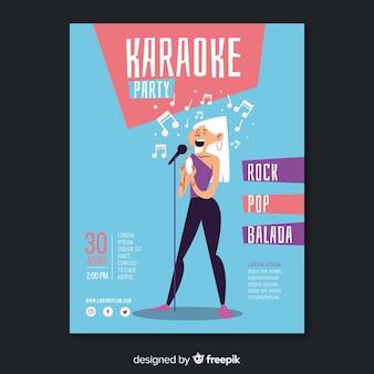Flat karaoke party poster template