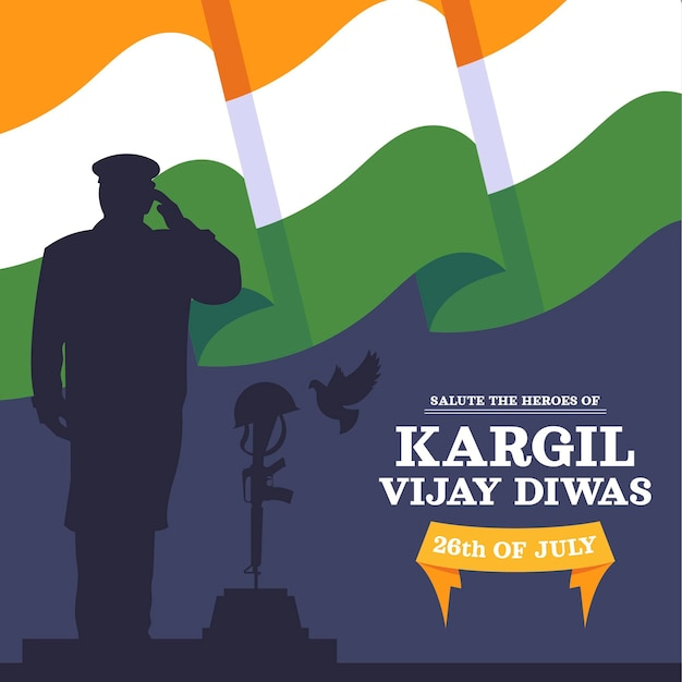 Flat kargil vijay diwas illustration