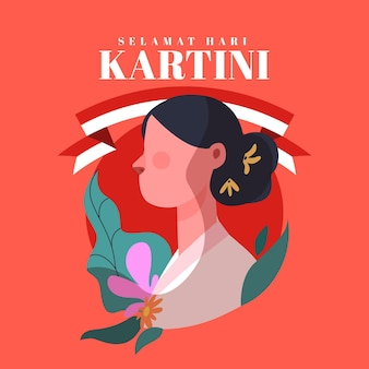 Flat kartini day illustration