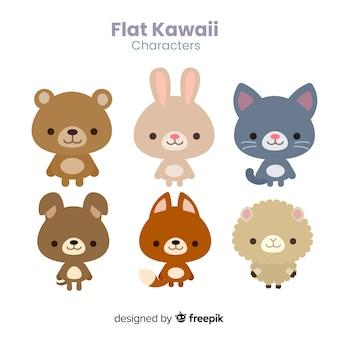 Collezione di animali kawaii piatti